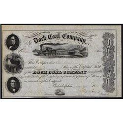 Dock Coal Company, 1855 Mining Stock.