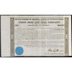 Union Iron and Coal Co. With Moses Taylor Autograph.
