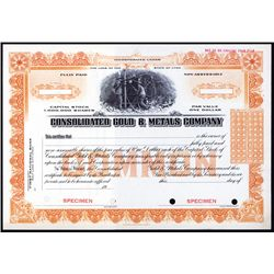 Consolidated Gold & Metals Company Specimen.