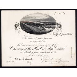 Opening of the Harlem Ship Canal, 1895 Invitation.