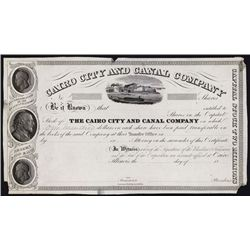 Cairo City and Canal Company Proof Stock Certificate.