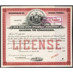 New York State Steamboat Inspectors' License to Engineers Specimen.