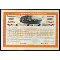 Mobile and Ohio Railroad Co. Specimen Bond.