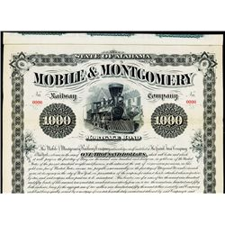 Mobile & Montgomery Railway Co. Specimen Bond.