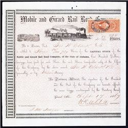 Mobile and Girard Rail Road Company Stock Certificate.