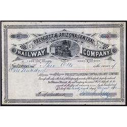Prescott & Arizona Central Railway Company Issued Stock Certificate.