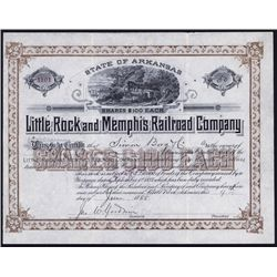 Little Rock and Memphis Railroad Company Issued Stock Certificate.