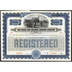 San Diego and Arizona Railway Co. Specimen Bond.