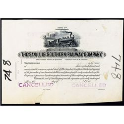 San Luis Southern Railway Company Proof Stock Certificate.