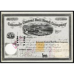 Colorado Central Rail Road Co. Stock With Henry M.Teller Signature & Imprinted Revenue RN-T4.