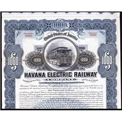 Havana Electric Railway Company Stock and Bond Certificate.