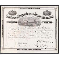 Sanborn, Cooperstown & Turtle Mountain Railway Co. Stock Certificate.