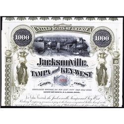 Jacksonville, Tampa and Key-West Railway Co. Issued Bond.