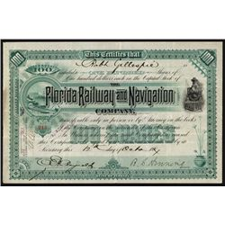 Florida Railway and Navigation Co. Stock Certificate.