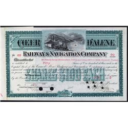 Coeur D'Alene Railway & Navigation Co. Stock Certificate.