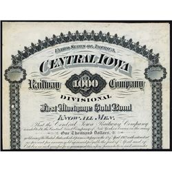 Central Iowa Railway Co. Specimen Bond.