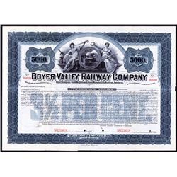 Boyer Valley Railway Company Specimen Bond.