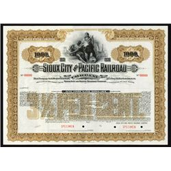 Sioux City & Pacific Railroad Co. Specimen Bond.