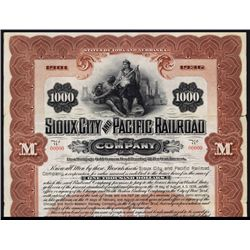 Sioux City and Pacific Railroad Co. Specimen Bond.