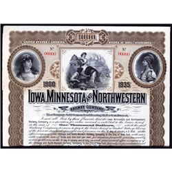 Iowa, Minnesota and Northwestern Railway Co. Specimen Bond.