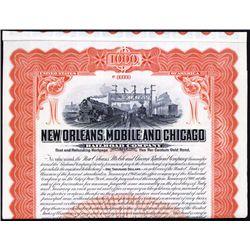 New Orleans, Mobile and Chicago Railroad Co. Specimen Bond.