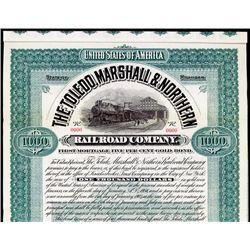 Toledo, Marshall & Northern Railroad Co. Specimen Bond.