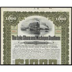 Lake Shore & Michigan Southern Railway Co. Specimen Bond.