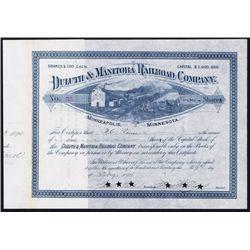 Duluth & Manitoba Railroad Co. Stock Certificate.