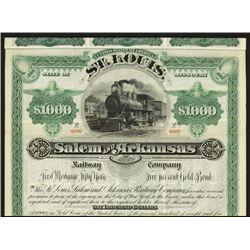St. Louis, Salem and Arkansas Railway Co. Specimen Bond.
