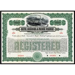 Butte, Anaconda & Pacific Railway Co. Specimen Bond.