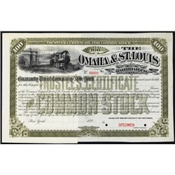 Omaha & St. Louis Railroad Co. Specimen Stock.