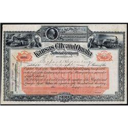 Kansas City and Omaha Railroad Company Stock Certificate.