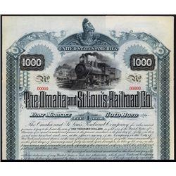 The Omaha and St.Louis Railroad Co. Specimen Bond.