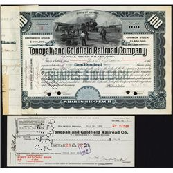 Tonopah and Goldfield Railroad Company Issued Stock Certificate.