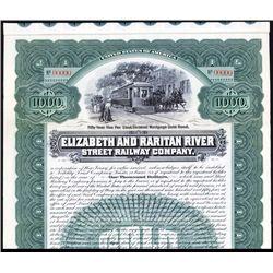 Elizabeth and Raritan River Street Railway Co. Specimen Bond.
