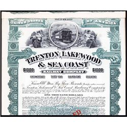 Trenton, Lakewood & Sea Coast Railway Co. Specimen Bond.