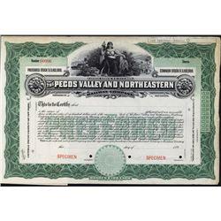 Pecos Valley and Northeastern Railway Co. Specimen Stock Certificate.