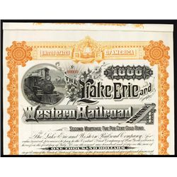 Lake Erie and Western Railroad Co. Specimen Bond.