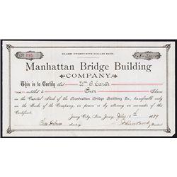 Manhattan Bridge Building Co. Stock Certificate.
