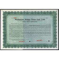 Manhattan Bridge Three Cent Line Specimen Stock.