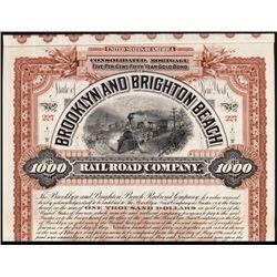 Brooklyn & Brighton Beach Railroad Co. Specimen Bond.