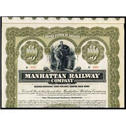 Manhattan Railway Company Specimen Bond.