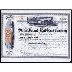 Staten Island Rail-Road Co. With William H.Vanderbilt Autograph as President Stock.