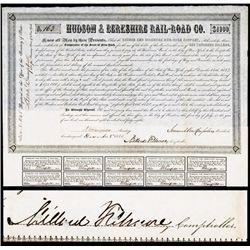 Hudson & Berkshire Rail-Road Co. With President Millard Filmore Autograph.