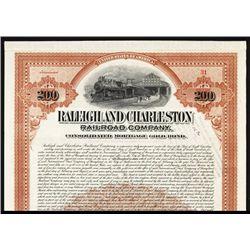 Raleigh & Charleston Railroad Co. Issued Bond.
