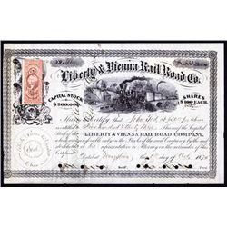 Liberty and Vienna Railroad Company Stock Certificate.