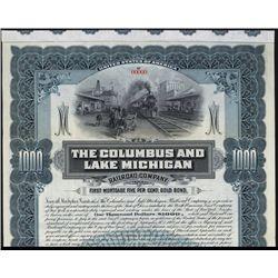 Columbus and Lake Michigan Railroad Company Specimen Bond.