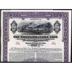 Wheeling and Lake Erie Railway Company Specimen Bond.