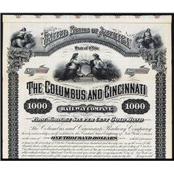 Columbus and Cincinnati Railway Company Specimen Bond.