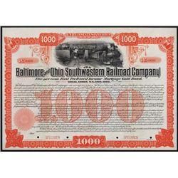 Baltimore and Ohio Southwestern Railroad Company Specimen Bond.